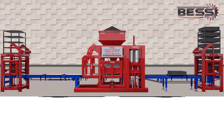 animation image of Automatic brick machine with double hopper