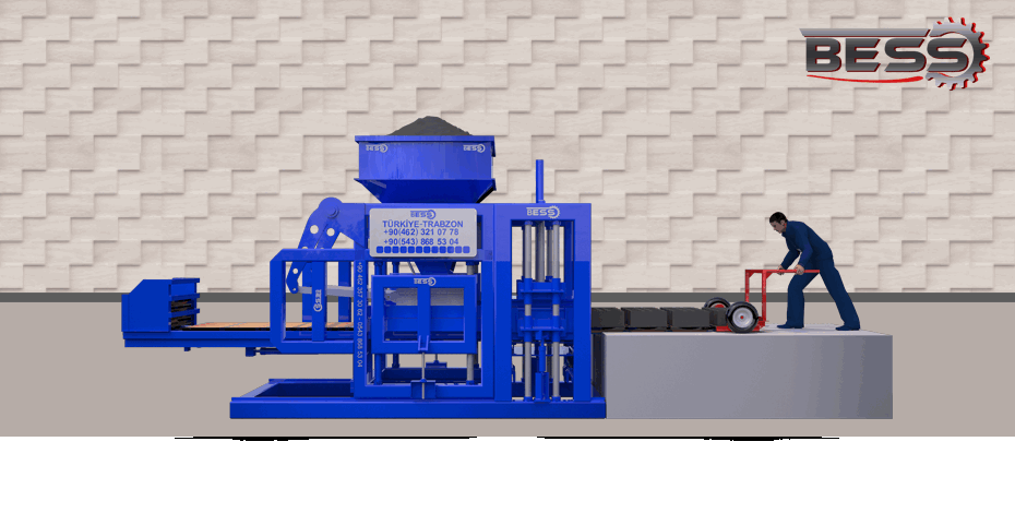 Animation of semi-Automatic brick machine with single hopper