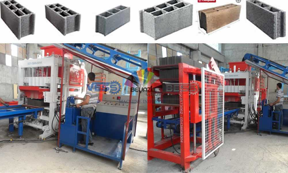 some staf operating brick making machine
