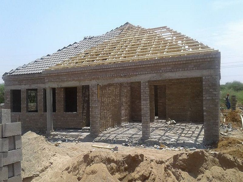 concrete block usage for making house